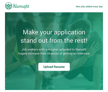 upload your yoga, fitness, dance teacher resume to namafit