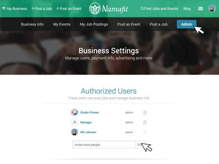 Admin page for a Namafit business user